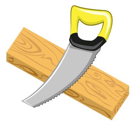 serrucho: Sierra de mano y tablero de madera. Aislado en blanco ilustraci�n vectorial Vectores