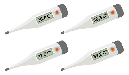 digital thermometer: Set electronic medical thermometer. Isolated on white vector illustration
