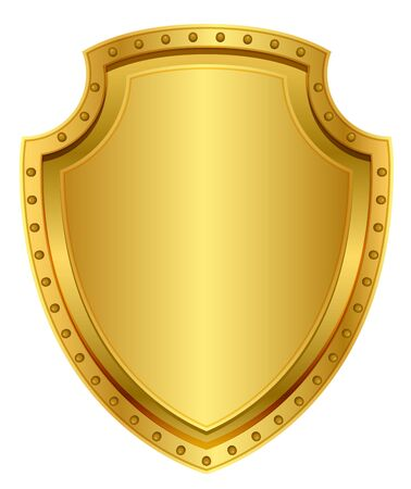 rivets: Empty gold shield. Blank metal badge with rivets. Isolated on white vector illustration