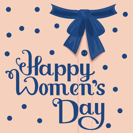 format: Happy Womens Day. Template greeting card. Lettering handwritten text. Illustration in vector format