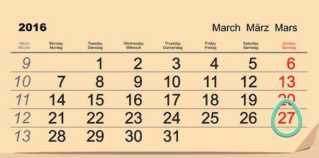 27: March 27, 2016 Catholic Easter. Easter egg Calendar. Illustration in vector format Illustration
