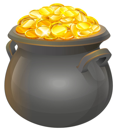 Pot of gold coins. Full cauldron of gold. Isolated on white vector illustration