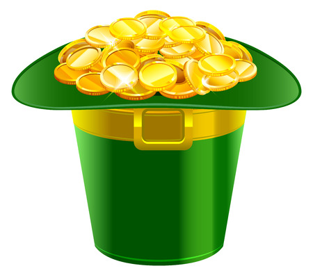 buckle: Patrick hat full of gold coins. Patrick green hat with gold buckle. Isolated on white vector illustration