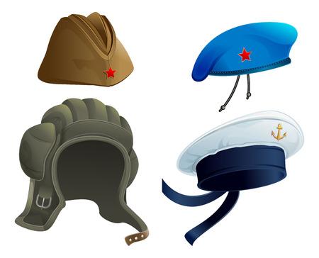 Set Militärarmee-Kopfschmuck. Russische Militärgarnison Kappe. Moderne Militär Hut. Isoliert auf weiß Vektor-Illustration Vektorgrafik
