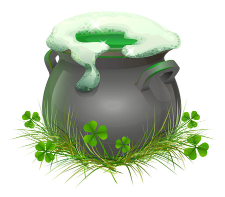 brewed: Pot of Irish beer. Irish ale brewed in the cauldron. Patricks Day. Isolated on white illustration