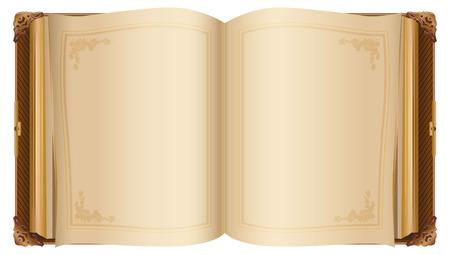 Retro open boek met blanco pagina's. Geïsoleerd op witte illustratie Stockfoto - 53141690