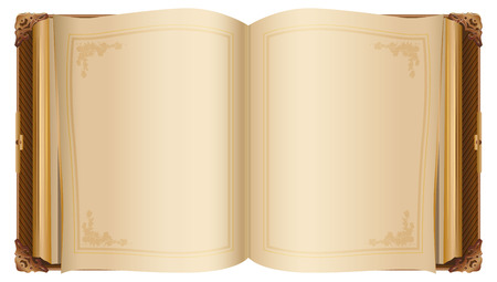 Retro open book with blank pages. Isolated on white illustration
