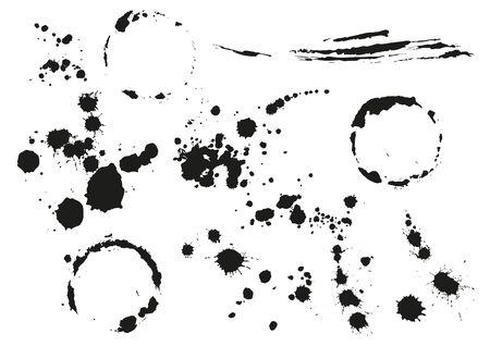 blot: Set black blot splotch. Circular stain. Isolated on white illustration