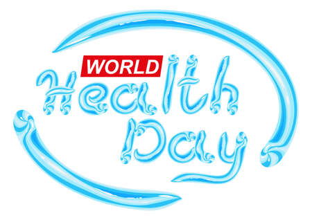 dental care: World Health Day. Blue Toothpaste lettering text. Isolated on white illustration