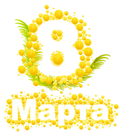 8 march: Yellow mimosa flower. Mimosa flower symbol of Womens Day. Congratulations on March 8. Russian text lettering for greeting card. Isolated on white illustration