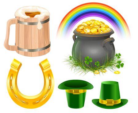 irish beer: Patricks Day Symbols. Mug of irish beer, rainbow, leprechaun hat, pot coins, golden horseshoe. Isolated on white illustration Illustration