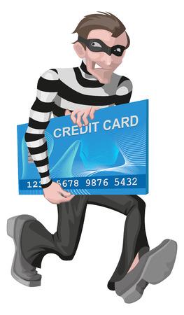 robo: hombre ladrón robó la tarjeta de crédito. Robo de dinero en línea. Aislado en blanco ilustración