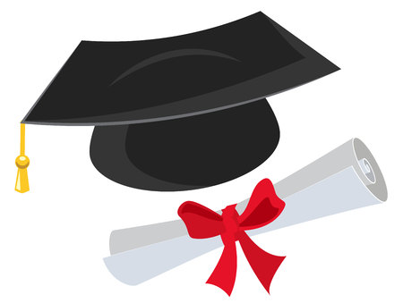 graduation ceremony: Mortarboard and diploma. Isolated on white illustration Illustration
