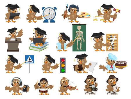 graduacion caricatura: Gran conjunto maestro búho. profesor pájaro de dibujos animados. Aislado en blanco ilustración