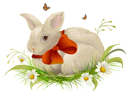 cartoon hare: Cute rabbit with bow sitting on grass. Easter rabbit with red ribbon. Isolated on white illustration