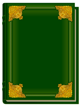antique books: Old green book Koran. Holy Quran. Closed book with golden lining. Illustration in format
