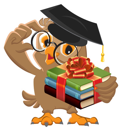 teacher and students: Owl teacher holding gift book. Book is best gift. cartoon illustration