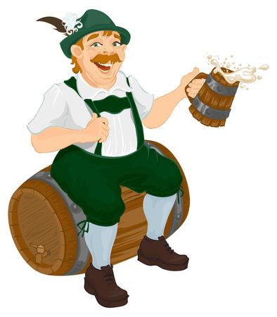 German man sits on an oak barrel and holding wooden beer mug. Bavarian fat man celebrating oktoberfest. Isolated on white illustration