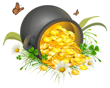 pots: Overturned pot of gold coins. Cauldron of gold. Isolated on white illustration