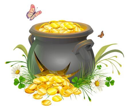 gold leaf: Pot with gold split. Cracked pot of treasure. Cauldron of gold on grass. Isolated on white illustration