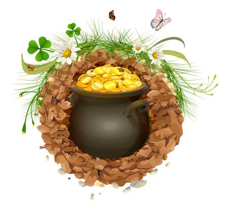gold earth: Pot of gold in ground. Hidden treasure. Isolated on white illustration Illustration