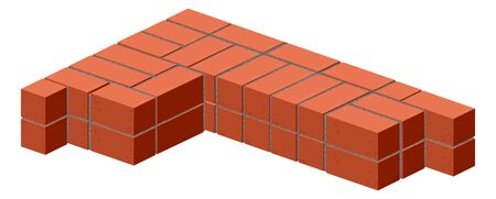 stone mason: Brickwork. Masonry bricks in half. Construction of a brick wall. Brick stacking scheme. Isolated on white illustration