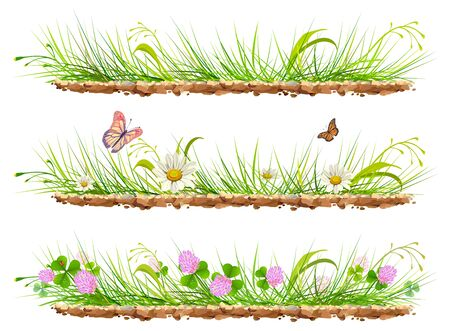 grass flowers: Set green grass on ground. Grass, flowers, clover and butterflies. Isolated on white illustration Illustration