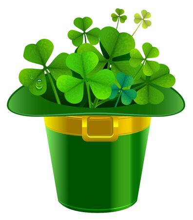 gold buckle: Patrick hat full of clover. Patrick green hat with gold buckle. Isolated on white illustration Illustration