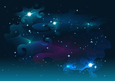noche estrellada: Noche cielo estrellado. Estrellas y el espacio. Fondo abstracto oscuro. Ilustración en formato Vectores