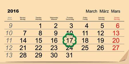 march 17: Saint Patricks Day. Calendar 2016 March 17. Illustration in format Illustration