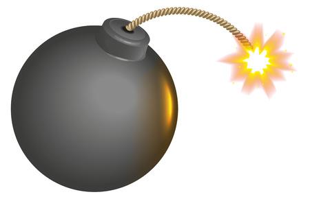 the wick: Black round bomb with burning wick. Isolated on white illustration Illustration