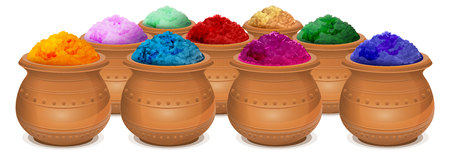 colors paint: Ceramic pot of paint holi. Festival of colors Holi. Isolated on white illustration