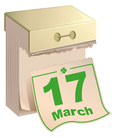 march 17: March 17 St Patrick Day. Tear-off calendar March 17. Isolated on white illustration