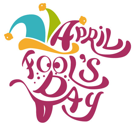 1 April Fools Day. Clowns cap with bells. April Fools Day lettering text for greeting card. Isolated on white illustration