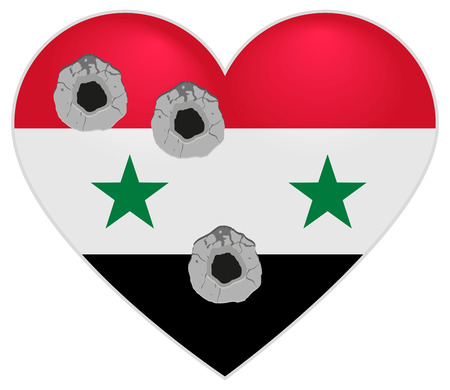 bullets: Flag of Syria. Syria Heart pierced by bullets. Bullet holes in heart of Syria. Isolated on white illustration Illustration