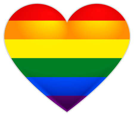 Rainbow flag gay. LGBT flag heart. Isolated on white illustration