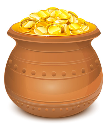 Ceramic pot with gold coins. Isolated on white vector illustration Illustration