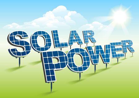 Solarenergie. Sonnenkollektoren auf der grünen Wiese. Illustration im Vektorformat