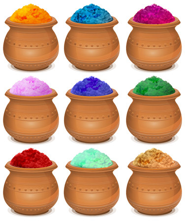 colors paint: Set ceramic pot of paint holi. Festival of colors Holi. Isolated on white vector illustration Illustration