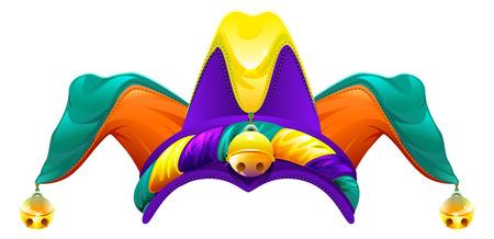 brincolin: Tontos gorra con campanas. gorra de bufón. 1 día de los inocentes. Aislado en blanco ilustración vectorial