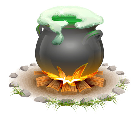ale: Magical potion brewed in pot. Magic ale St Patricks Day. Full pot on fire. Isolated on white vector illustration