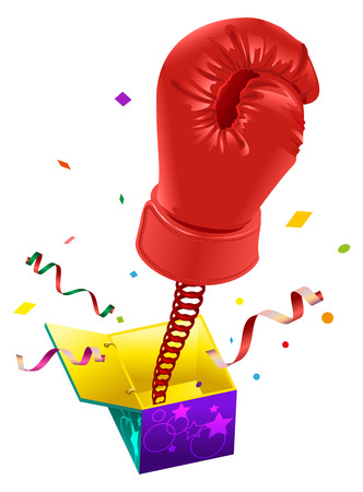 spring out: April Fools day. Red boxing glove on spring flies out of box. April Fools joke. Illustration in vector format Illustration