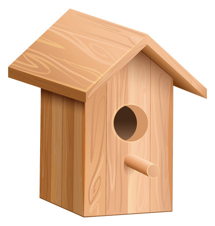 nesting box: Wooden house for bird. Nesting box. Isolated on white vector illustration Illustration