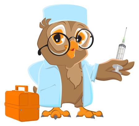 white coat: Owl doctor holding syringe. Owl veterinarian in white coat.