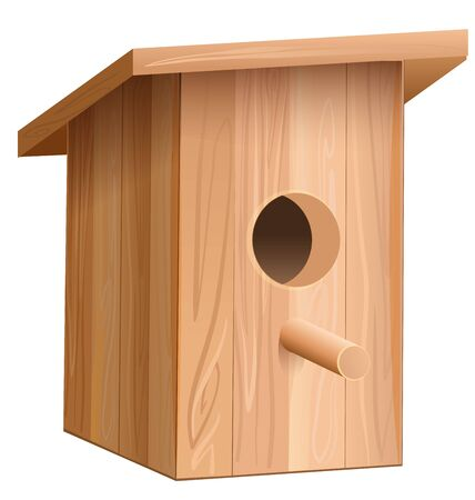 nesting box: Wooden house for bird. Nesting box. Illustration