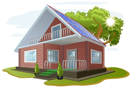 alternative energy sources: Solar energy. Caring about environment. House with solar panels on roof. Alternative energy sources.