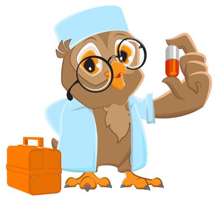 white coat: Owl doctor holding pill. Owl Ambulance in white coat.