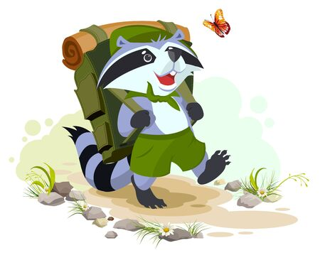 goes: Scout raccoon with backpack goes camping. Summer Camping.