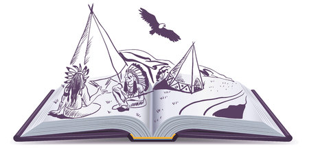 Open book. Indians sit at wigwam on pages of open book. Adventure story.