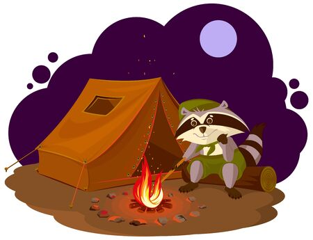 Summer holiday camp. Scout raccoon sitting around campfire. Raccoon tourist tent set. Camping.